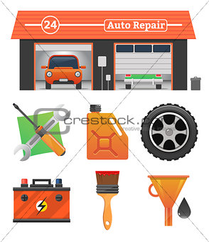 Auto repair icons set