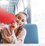 woman in love on a date in cafe in Valentines day