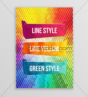 Watercolors poligon ribbons and banners for text. Collection of Watercolor design elements. Abstract colorful stripes