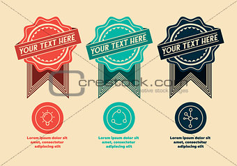 3 retro labels and icons