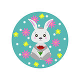 Spring rabbit with flowers