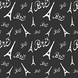 Seamless pattern Eiffel Tower with hearts.Hand drawing .