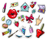 Fashion patch badges with lips and make up elements pop art