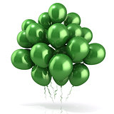 Green balloons crowd 3D
