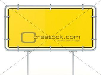 Blank framed traffic road sign standing. 3D