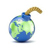 World map on bomb. 3D