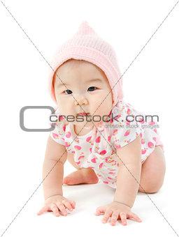 Asian baby girl crawling