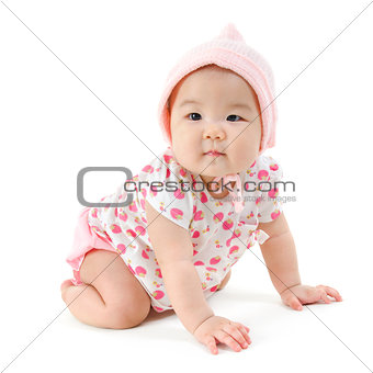 Portrait of Asian baby girl crawling