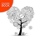 Sewing tree with buttons. Coloring book page design