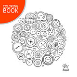 Buttons collection sketch. Page for your coloring book