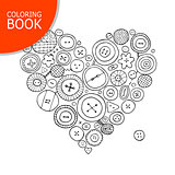 Buttons collection, heart shape. Page for your coloring book