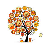 Sewing crafts, art tree. Sketch for your design
