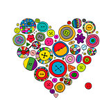 Buttons collection, heart shape. Sketch for your design
