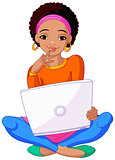 Young African Woman Sitting On Cushion with Laptop