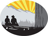 Trampers Sitting Looking Up Mountain Oval Woodcut