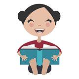 Cartoon girl reading fun book