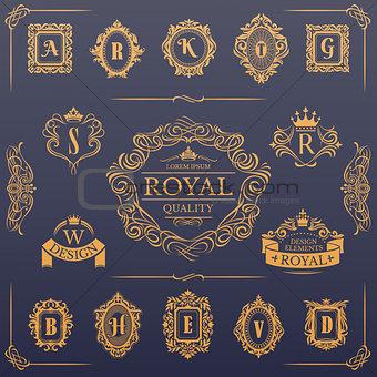 Calligraphic design elements collection