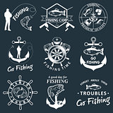 Set of vintage fishing labels, badges
