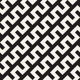 Trendy Monochrome Line Lattice. Vector Seamless Black and White Pattern.