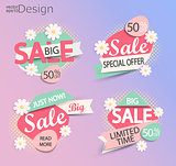 Sale - set of fashion color modern labels.