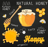 Vector illustration set of jars with honey.
