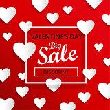 Valentines day big sale background, vector.