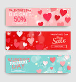 Banner set with discount for Valentine's Day.