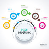 Business timeline infographics with 5 circles steps number optio