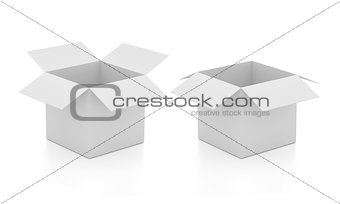 Blank open boxes