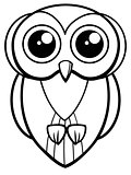 owl bird character coloring page