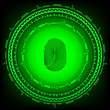 Abstract technology background.Security system concept with fingerprint . Eps 10 vector illustration