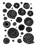 Abstract design elements, spirals and circles sketch