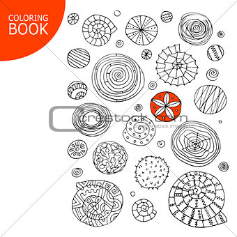 Abstract spirals and circles. Sketch for your coloring book