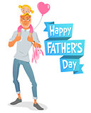 Vector Father s Day card. Father with daughter.
