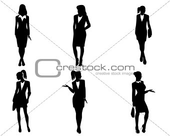 Six businesswoman silhouettes