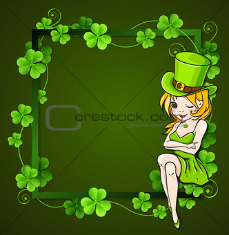 Green clover and girl