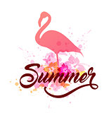 Pink flamingo and lettering