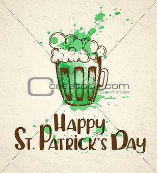 Green beer and watercolor blots