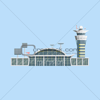 Airport building with control tower. Flat design.