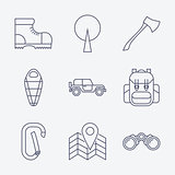 Outline stroke Camping icons.