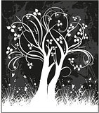 Tree silhouette vector illustration.