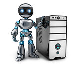 Black robot and PC
