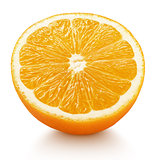 half of orange citrus fruit isolated on white
