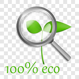 Green Sprout under Transparent Loupe. Vector logo design 100% EC