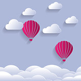 Paper Cut Design Of Balloon Shapes and clouds. Vector illustrati
