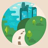 Stylized daylight cityscape.  Flat design vector illustration wi