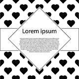 Poster with patterns of black hearts. Valentines day post card.