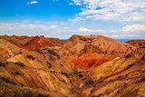 Panorama of Skazka aka Fairytale canyon, Issyk-Kul Kyrgyzstan