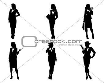 Six businesswoman silhouettes