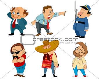 Six funny characters set